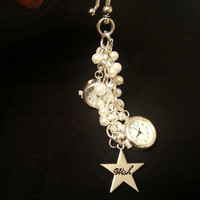 Silver Dual Timezone, Deployment Watch Keychain with Pearls and Charm