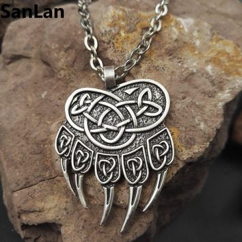 1pcs dropshipping impress of veles pendant bear paw necklace huge warding veles pendant jewelry with 50cm metal chain SanLan