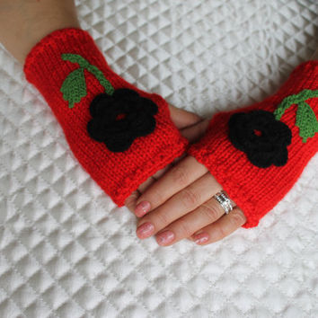 Knitted Fingerless Gloves,Red,Flowers Embroidered,Accessories,Gloves&Mittens,Gift Ideas,Turkish handicrafst,For her,Clothing and Accessories
