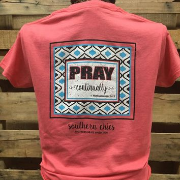 SALE Southern Chics Apparel Preppy Pray Continually Christian Girlie Bright T Shirt