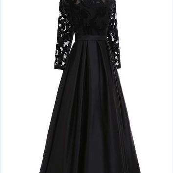 Long Sleeves Black Evening Dress Long Party Gown A Line Taffeta Evening Gown Robe Longue Avondjurk A