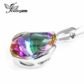 Vintage Huge 11ct Natural Genuine Rainbow Fire Mystic Topaz Concave Cut Solid 925 Sterling Silver Pendant For Women