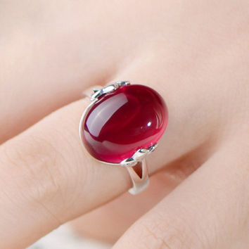 Big oval stone rings for women  plated alloy open adjustable female engagement wedding party ring fashion finger jewelry