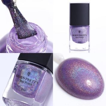 BORN PRETTY 1 Pc Shiny Purple 6ml Purple Born Pretty Holographic Holo Glitter Nail Polish Varnish Hologram Effect 9#