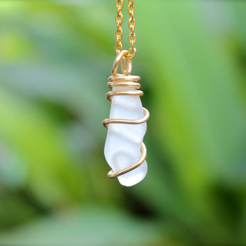 Sea Glass Necklace made in Hawaii - Hawaiian Jewelry - Seaglass Jewelry from Hawaii - Bohemian Necklace - Boho Gypsy Jewelry from Hawaii