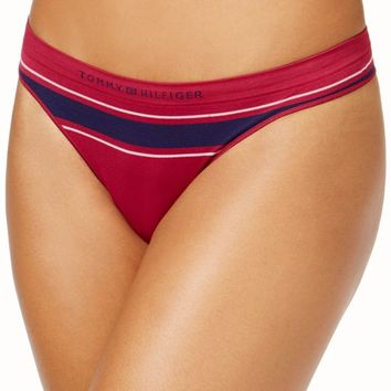 Tommy Hilfiger Red Plum Logo Stripe Seamless Thong