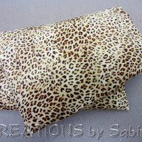 Microwave Corn Pillow with washable cover / Heating Pack / Therapy Pad Bag brown tan beige leopard animal print wild cat READY TO SHIP (159)