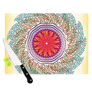 "Famenxt ""Confetti Dots Mandala"" Multicolor Abstract Cutting Board"