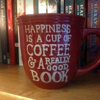 FEATURED ON BUZZFEED Happiness is a Cup of Coffee and a Really Good Book Coffee Mug