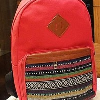 Leisure Strip Print Canvas Backpack