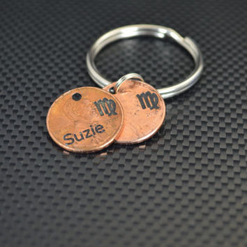Virgo Keychain, Virgo Key Chain, Birthday Key Chain, Birthday Keychain, Virgo Birthday, Lucky Penny, Penny Keychain, Birthday Gift, Virgo