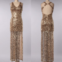 perfect party ball gown gold sequin maxi dress