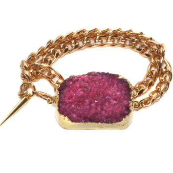 Double Wrap Gold Druzy Bracelet