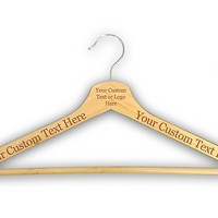 Customized CUSTOM 3D Laser Engraved Personalized Wooden Clothes Hanger Organization Closet Tools (Natural)