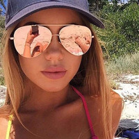 Sophia- Rose Gold Aviator Mirrored Sunglasses