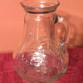 Glass Juice Pitcher with Boat Image