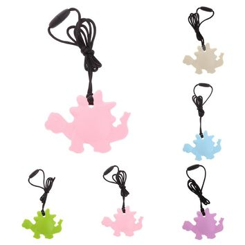 2017 New Food Grade Silicone Dinosaur Teething Pacifier Pendant Soother Teether For Baby