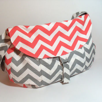 Large Satchel Bag - Weekender Bag - Large Gray Purse - Coral Shoulder Bag - Crossbody Bag - Large Chevron Bag - Messenger Bag - Large Bag