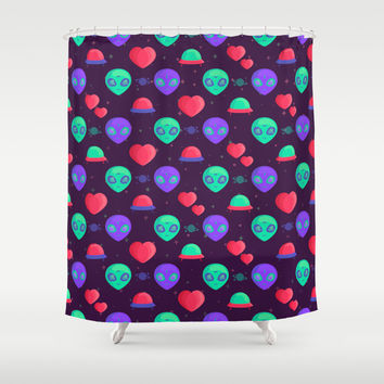 Kawaii Aliens Shower Curtain by BadOdds