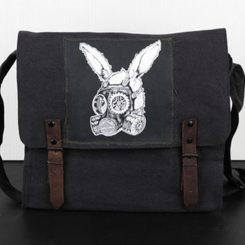 Vintage Black Canvas Medic Bag with Silk-Screened Steampunk Rabbit Patch - Free Shipping