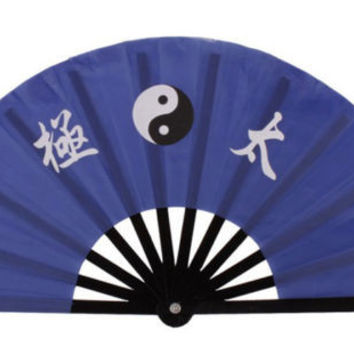 Blue Color 13.8'' Chinese Bamboo Frame Tai Chi Martial Arts Kung Fu Fan