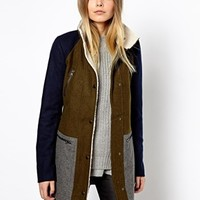 Vero Moda Colourblock Teddy Collar Coat