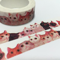 cat group sticker tape10M cat team Cute cat washi tape funny cat pussy cat fat cat noisy cat deco tape cat planner diary meow meow gift