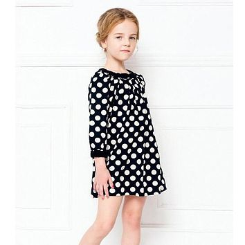 Long-sleeved kids wear fashion baby girl polka dot dress girls lolita style baby clothing child dresses summer clothes