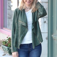 Suede Zip Up Moto Jacket {Forest}