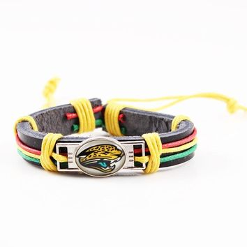 Reggae Fashion Real Leather Bracelet Man Woman Jacksonville Jaguars Charms Bracelet Leather Cuff Bracelet For Sport Fan 6pcs