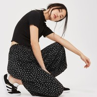 Belted Spot Plisse Trousers   Topshop