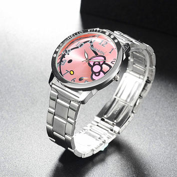 Full Steel Hello Kitty Watch Women Quartz WristWatch Cartoon Cute Watches Children 3D Crystal Fashion Relojes Christmas Gift