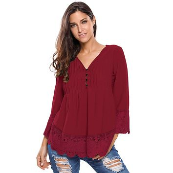 Burgundy Lace Detail Button Up Sleeved Blouse