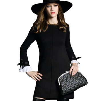 AKSLXDMMD 2017 New Elegant Women Autumn Winter Short Dress Casual Flare Sleeve Ruffle Bow Slim Black Knit Sweater Dress QH207