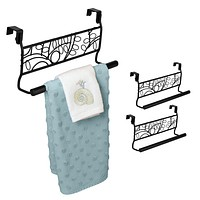 "Evelots Set of 2 Over Cabinet Door Dish Towel Bar Holders, 9"" Black Leaf Design"
