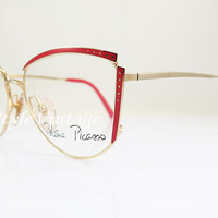 PALOMA PICASSO 3756 , New Old Stock , Vintage , Red And Gold , Cateye , Kitty, Eyeglasses , Sunglass Frames