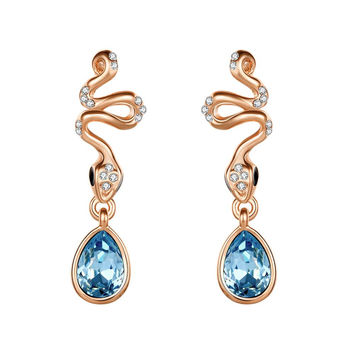 18K Rose Gold Spiral Earrings with Saphire Gem Made with Swarovksi Elements