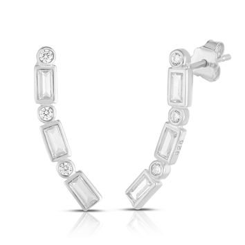 Round and Baguette Diamond SImulant CZ Ear Crawler Sterling Silver Stud Earrings