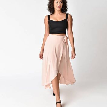Blush Pink High Waisted Chiffon Wrap Midi Skirt
