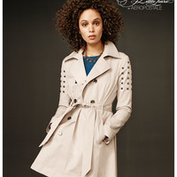 Pretty Little Liars Womens Pretty Little Liars Spencer Studded Trench Coat - Beige,