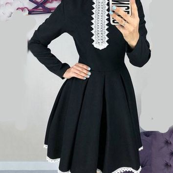 New Black Patchwork Lace Pleated Tutu Long Sleeve Homecoming Party Midi Dress