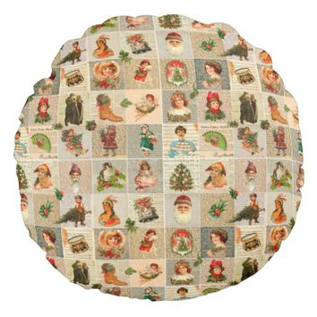 "Vintage Christmas Cotton Round Throw Pillow (16"")"