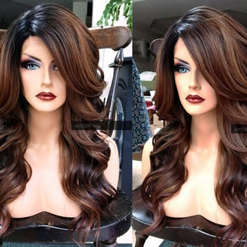 U.S.A. // Heat SAFE Ombre Brown Auburn LACE FRONT & Part Wavy Wig w/ Curly Black Dark Roots