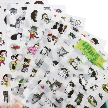 Shop Crazy Cats cute black and white cat photo album decorative stickers child DIY toy 6sheets/set
