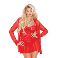 Plus Size Ruffles and Lace Babydoll and Jacket