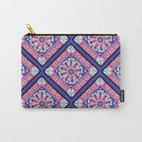 Purple & Pink Diamond Pattern Carry-All Pouch by Sarah Oelerich