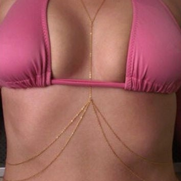 Simple one piece chain double layer chain body necklace for sexy women