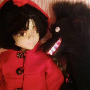 Free Shipping**Creepy Gothic Redhood Horror Halloween Decor Scary Doll Spooky Doll Haunted Doll  Coffin Strange OOAK Handmade Art Doll Robin