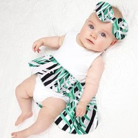 6M-24M Jumpsuit with Headband Newborn Baby Girls Sunsuit Infant Baby Girl Print Princess Party Dress Sleeveless Romper Clothes