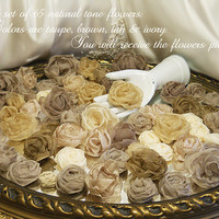 Bulk Set of 65, natural tone flowers. Great for bouquet making, cake toppers, table decor, centerpieces, wreaths. Ready to Ship!